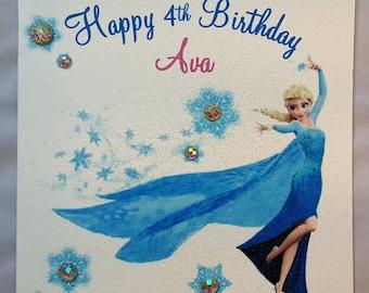 Personalised Handmade Childrens Birthday Card-Frozen