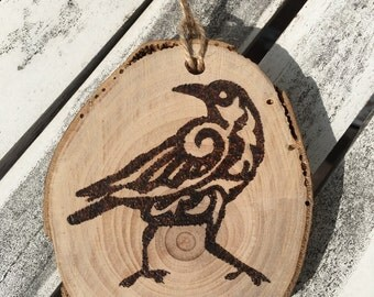 Crow sign, Crow picture, pyrography, crow, crow ornament, ornament, wood burning