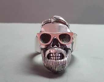 Sterling Silver And Solid 14K Rose Gold Hipster Skull Ring