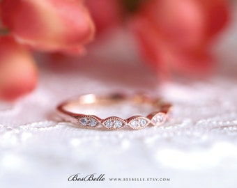 2.0mm Art Deco Wedding Band-Rose Gold Ring-Brilliant Cut Diamond Simulant-Stacking Ring-Half Around Eternity Ring-Sterling Silver [6053RG-H]
