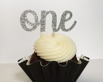 Glitter ONE Cupcake Toppers - 1st Birthday - First Birthday - Dessert Table - Party Decor - Winter ONEderland - CUSTOMIZABLE