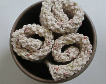 Hand Knit Cotton Dishcloths (Set of 3) Flecked Cream, Textured, Reversible ∙ Washcloths ∙ Cleaning Cloths