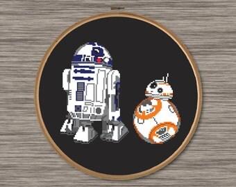 R2D2 and BB8 - Star Wars Droids - PDF Cross Stitch Pattern