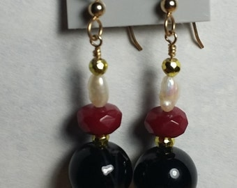 Black onyx, Pyrite, Ruby, pearl, earring, gold filled.