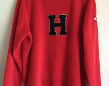 90's Tommy Hilfiger Fleece Pullover, Red and Navy Color Block, Size L