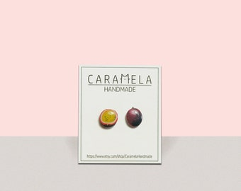 Passion fruit Stud Earrings Passion fruit post Fruit earrings Gift idea for her