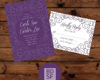 Printable Wedding Invitation // All Twirled Up Modern Design // Chose Wording & Color // DIY Printable Wedding Invites // Fully Customizable