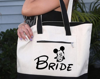 Bride Bag: Heavy tote bag  zippered main compartment,  Heavy canvas, Carryall, Walt Disney Bag, Minnie Mouse Bag,Mickey Mouse