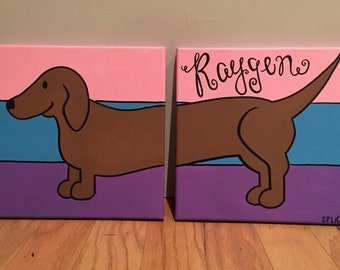 Dachshund Double Canvas Painting, Separated Dog Painting, Hand Painted Puppy, Handmade Weiner Dog Multiple Canvases