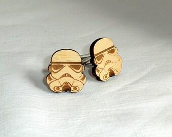 Star Wars Cufflinks Stormtrooper Wooden Cufflinks Groomsmen gift ideas Star Wars gift Gifts for men Valentines gifts Groomsmen cufflinks