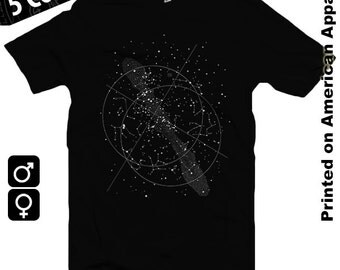 Night Sky American Apparel Men/Women T-shirt S-XXL Astronomy, Stars, Constellations, Universe, Physics, Astrology, Cool Gift!