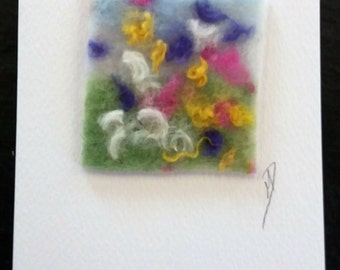Wildflower Meadow textile greeting card, felt and stitch greeting card, textile art card, blank inside greeting card, any occasion card