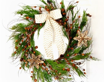 Rustic Winter Wreath | Front Door Wreath | Christmas Wreath | Juniper and Jingle Bell Wreath | Holiday Wreath