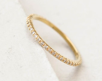 Ultra Thin FULL Eternity Band Ring - Gold - FULL Band  Fashion Ring, Stacking Ring, Wedding Ring, Engagement Ring,