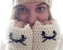 Cat Gloves - Cat Fingerless Gloves - All Sizes - Cat Hand Warmer - Cat Lover Gift