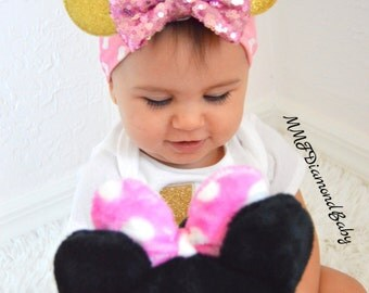 Minnie Mouse Headband-Pink Minnie Mouse Headband- Gold Headband- Poka Dot Headband-Pink and Gold headband
