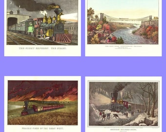 Four Train prints from the book Currier and Ives America