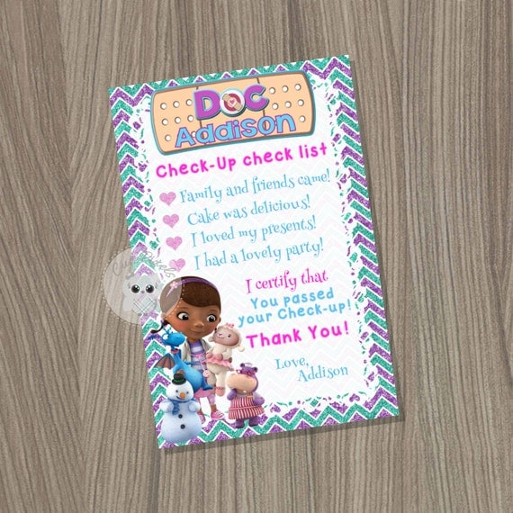 Doc Mcstuffins Thank You Card Doc Mcstuffins Birthday Doc