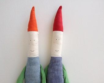 Cute handmade gnome / elf softie plush toy - (orange hat)