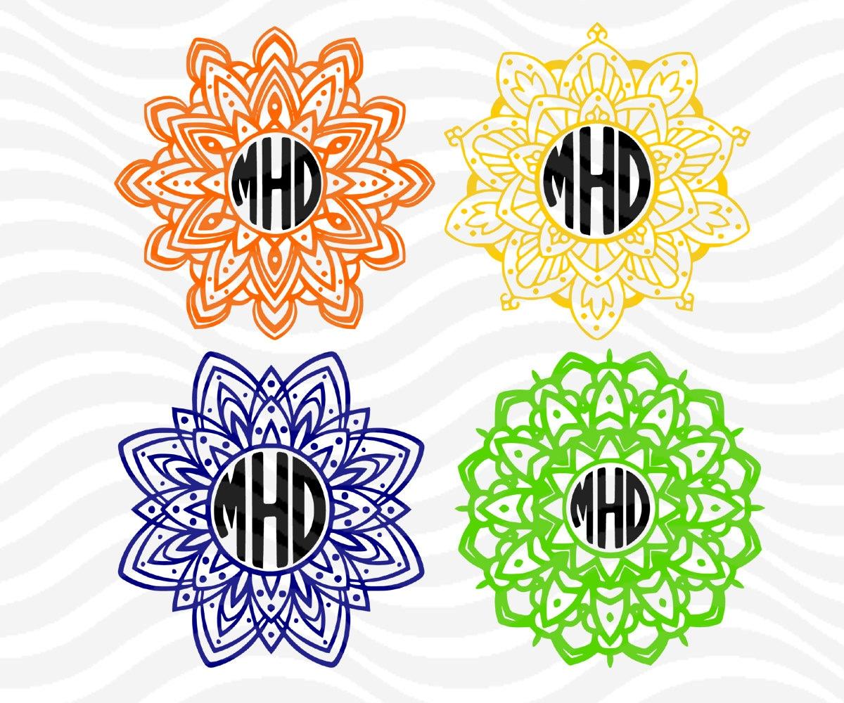 Flower Mandala monogram svg Circle monogram Frame svg by ...