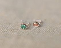 little drop nose ring,sterling silver nose ring,gemstone L shaped nosering,bridal jewelry