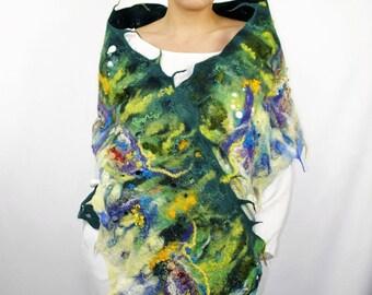 Felted Scarf Crazy flowerbed / Handmade felted scarf / Merino wool / Wool Scarf.