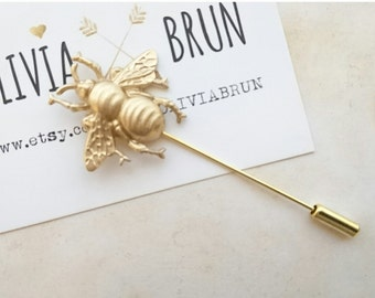 Bee Stick Pin Bee Lapel Pin Gold Bumble Bee Brooch Woodland Wedding Bee Jewelry Gifts For Her
