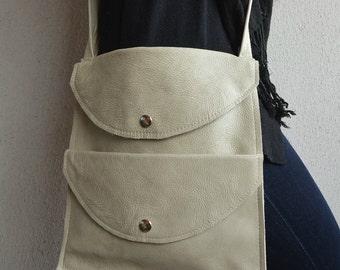 Leather IPad Bag, Leather Crossbody Bag, Ivory Leather Bag, Leather Ipad Purse, Ivory Ipad Bag, Ipad Handbag, Leather Handbag, Ipad Purse