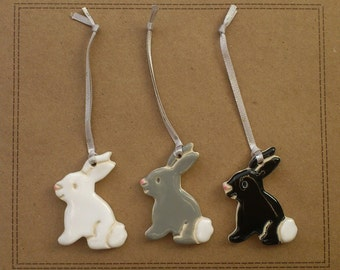 White, grey and black little pottery Easter bunny rabbits