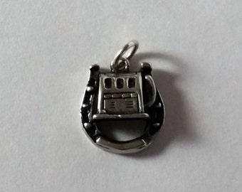 Slot Machine in Horseshoe Sterling Silver Charm