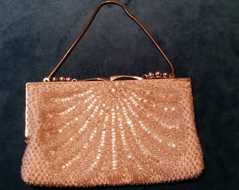 Vintage SilverBeaded Purse with Rhinestones