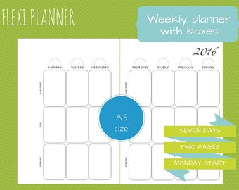 Flexi planner | A5 size filofax inserts | Weekly planer with boxes | w2p | undated | instant download