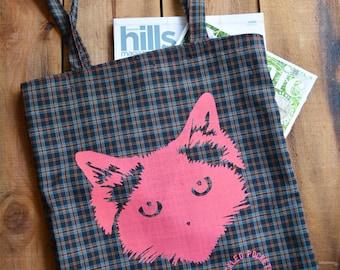 Cat tote bag. Neon Fluoro Pink Black Tartan. Screen Printed. Pickle Birman Ragdoll Cat. Handmade. Large Market Tote / Shopping Bag with Long