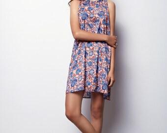 Peach  Floral tank Dress, Sleeveless Dress, Summer Dress with pockets - Mery
