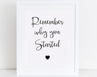 Remember Why You Started Art Print, Printable Wall Art, Instant Download, Motivational Quote, Printable Art, Typography, Minimalist
