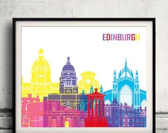 Edinburgh pop art skyline - Fine Art Print Glicee Poster Gift Illustration Pop Art Colorful Landmarks - SKU 1977