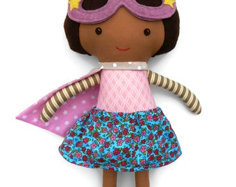 Superhero girl doll with brown skin, african american ragdoll an ideal gift for kids, toddlers, for kwanzaa or birthday; can be customized