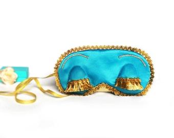 Holly Golightly sleep mask - Teal blue eye mask - Audrey Hepburn mask - Breakfast at Tiffany's party favor Bachelorette Satin eye pillow