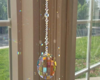 Luxurious anniversary gift, unique wedding gift, crystal sun catcher, hanging crystal, aurora borealis, window decoration, crystal hanger