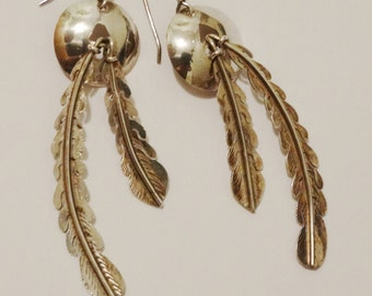 "Navajo Sterling Silver 2 1/2"" Double Feather Dangling Earrings."