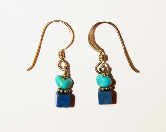 "Vintage Sterling Turquoise/ Blue Lapis 1"" Earrings."