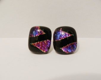 "Vintage Dichroic Art Glass 1/2"" Earrings."