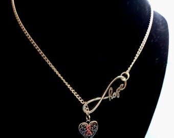 Breast Cancer Infinity Necklace and Earrings