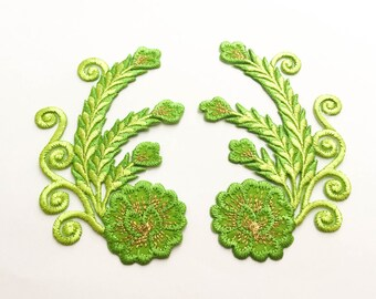 2 pcs Green, Gold Embroidered Flower Patch  / Flower Patch /Embroidered Iron on Patch - Size 6.0 x 9.9 cm