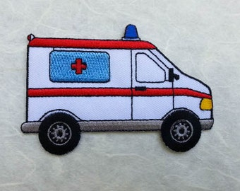 Ambulance Iron on Patch (L) 9.5 x 6.3 cm - Ambulance Applique Embroidered Iron on Patch