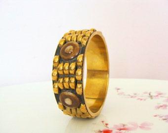 Vintage Deco Design Brass / Bakelite Bangle / 40's Bangle / Ethnic / Boho