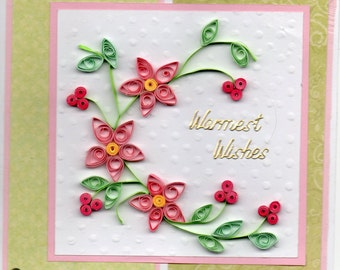 Hand made greetings card. Quilling.