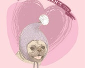 Pug in a Hat Printable Card 5x7