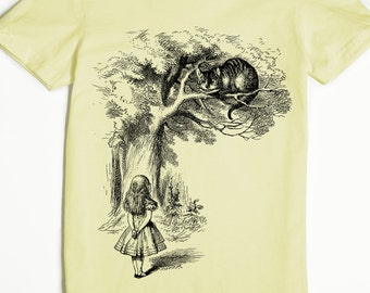 Cheshire Cat Shirt - Alice in Wonderland Shirt - Women's T-shirt - Lewis Carroll Shirt - Graphic Tee for Women - John Tenniel Art