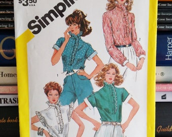 1982 Simplicity Pattern #5848-Blouses-4 Views-Feminine-Ruffles-Top Stitched-Sleeve Variations-Size 10-Bust 32.5-UNCUT